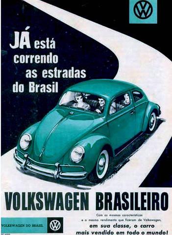 Volkswagen faz propaganda para anunciar o início da produção do Fusca no país, então chamado Volks Sedan