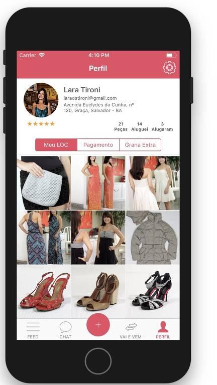página do aplicativo  LOC, de aluguel de roupas