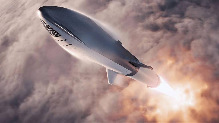 Concepção artística do foguete BFR, que deve levar os turistas espaciais da SpaceX em uma viagem em torno da Lua