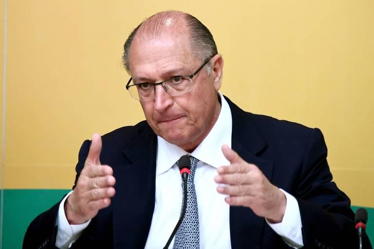 O presidenciável Geraldo Alckmin (PSDB) durante entrevista a correspondentes estrangeiros em Brasília