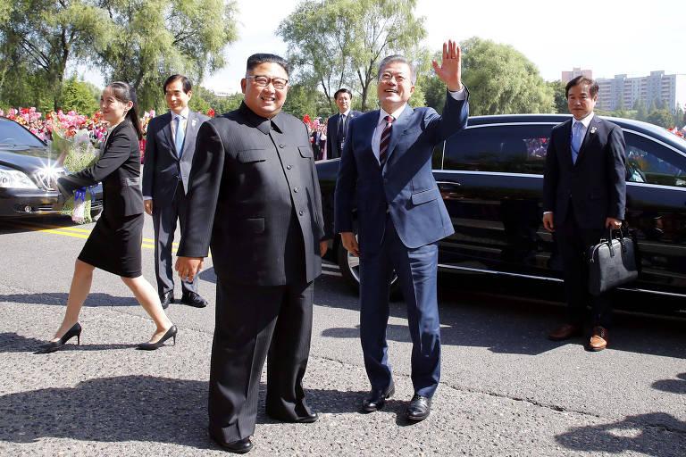 Kim Jong-un e Moon Jae-in se encontram em Pyongyang, na Coreia do Norte