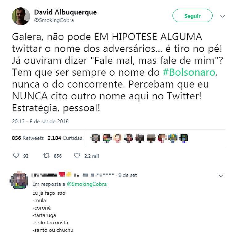 Militantes de Bolsonaro também recorrem a apelidos como estratégia para invisibilizar oponentes