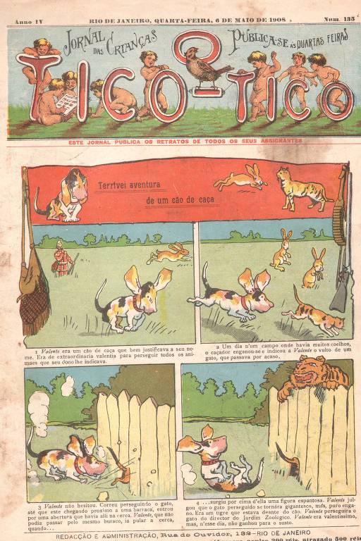 Revista O Tico-Tico, publicada em 1908, é uma das reproduções que estará na exposição