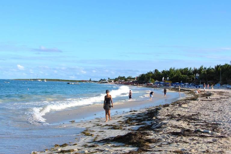 Orient Bay Beach, em Saint-Martin, Antilhas Pequenas