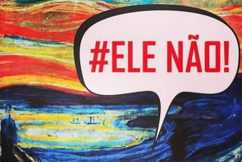 Imagem com a hashtag #elenao reproduzida pela atriz Patricia Pillar nas redes sociais