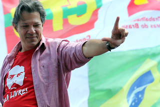 Presidential candidate Fernando Haddad of Workers Party (PT) attends a rally campaign in Sao Paulo