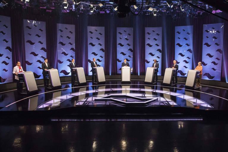 Os candidatos ao governo de São Paulo participam de debate promovido por Folha, UOL e SBT