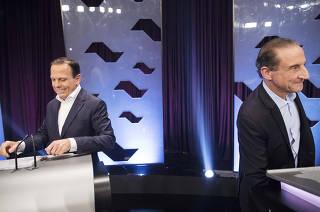 Debate para Governador de Sao Paulo promovido pela FOLHA, UOL e SBT  nos estudios do SBT. Joao Doria-PSDB e Paulo Skaf Skaf-MDB, se preparam para inicio do debate