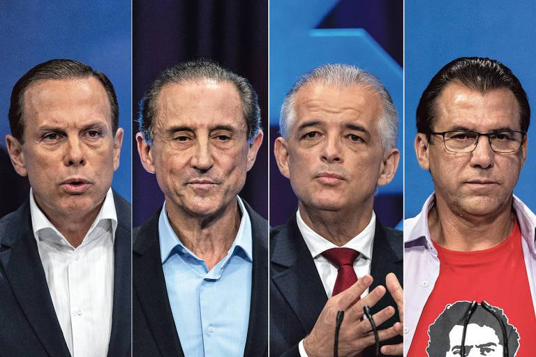 Os candidatos ao governo de São Paulo: João Doria (PSDB), Paulo Skaf (MDB), Márcio França (PSB) e Luiz Marinho (PT)