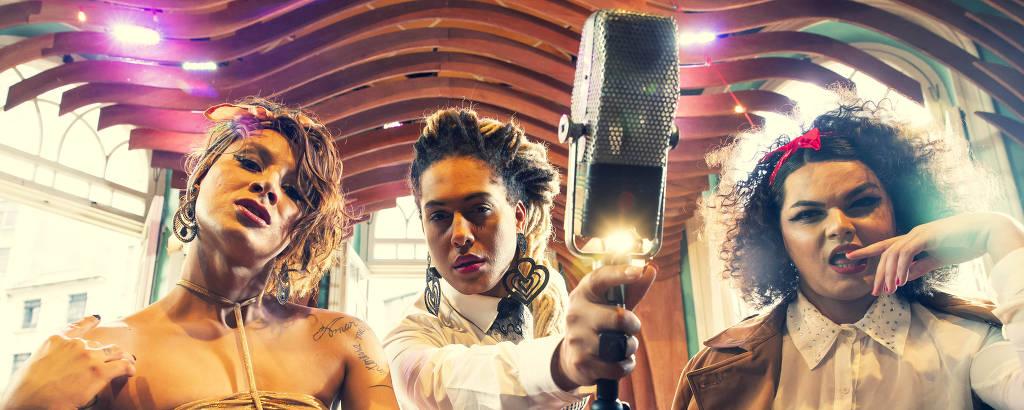 Assucena Assucena, Raquel Virgínia, vocalistas da banda As Bahias e a Cozinha Mineira, e a cantora trans Verónica Vallentino