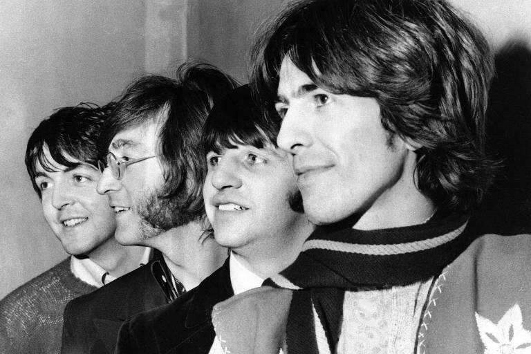 Paul McCartney, John Lennon, Ringo Starr e George Harrison em registro de 1968