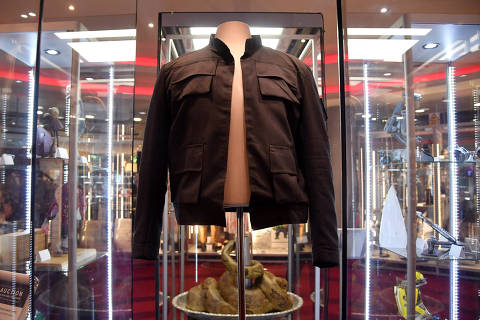 FILE PHOTO: Han Solo's jacket, worn by Harrison Ford in the 1980 film 'Star Wars: The Empire Strikes Back', is displayed at the IMAX ahead of being auctioned in London, Britain, September 6, 2018. REUTERS/Toby Melville/File Photo ORG XMIT: SJW301