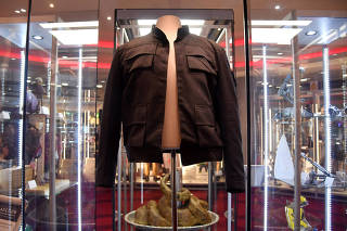 FILE PHOTO: Han Solo's jacket, worn by Harrison Ford in the 1980 film 'Star Wars: The Empire Strikes Back', is displayed at the IMAX ahead of being auctioned in London