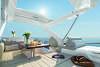 Flybridge, o deque superior do iate Azimut 56, com espaço para refeições e solário; no pavimento inferior, tem cozinha, sala de estar, três cabines e dois banheiros