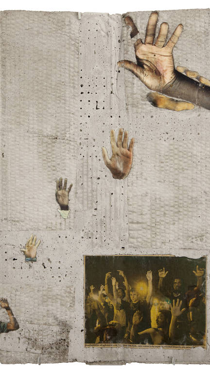 mãos negras espalhadas em obra de arte