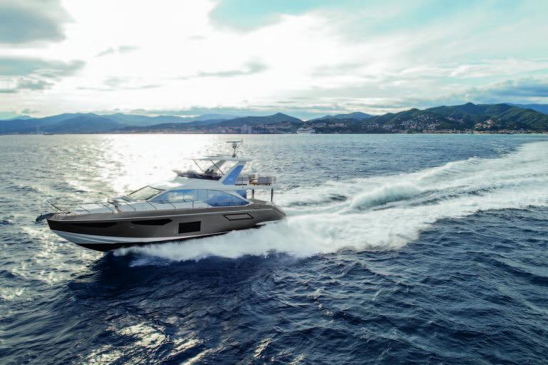 Azimut 62, que será lançamento no São Paulo Boat Show; iate tem 19 metros de comprimento, 156 metros quadrados de área útil e chega aos 31 nós de velocidade. Custa cerca de R$ 9 milhões
