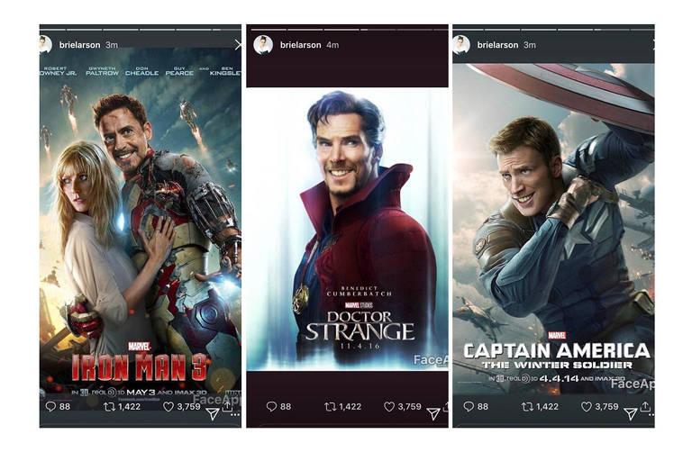 Brie Larson compartilhou pôsteres com Capitão América, Homem de Ferro e Doutor Estranho em versões sorridentes