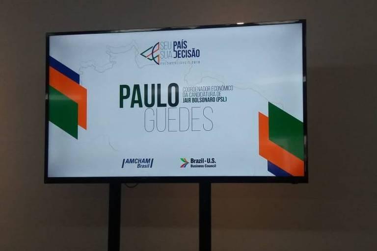 Auditório da Amcham preparado para receber o economista Paulo Guedes