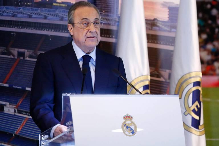 O presidente do Real Madrid Florentino Perez durante coletiva de imprensa