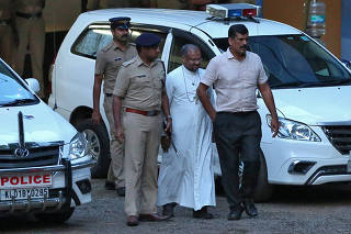 Bishop Franco Mulakkal is pictured outside a crime branch office on the outskirts of Kochi