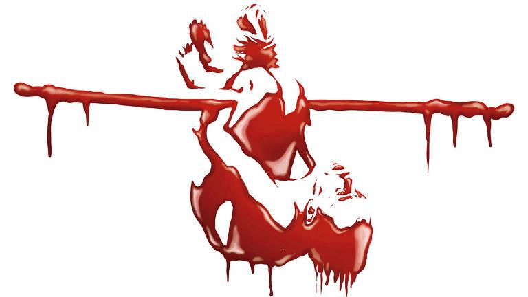 Desenho em vermelho de homem pendurado