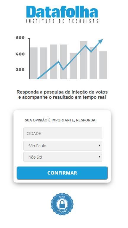 Imagem mostra reprodução da página de suposta pesquisa eleitoral, com formulário convidando a preencher cidade, estado e intenção de voto