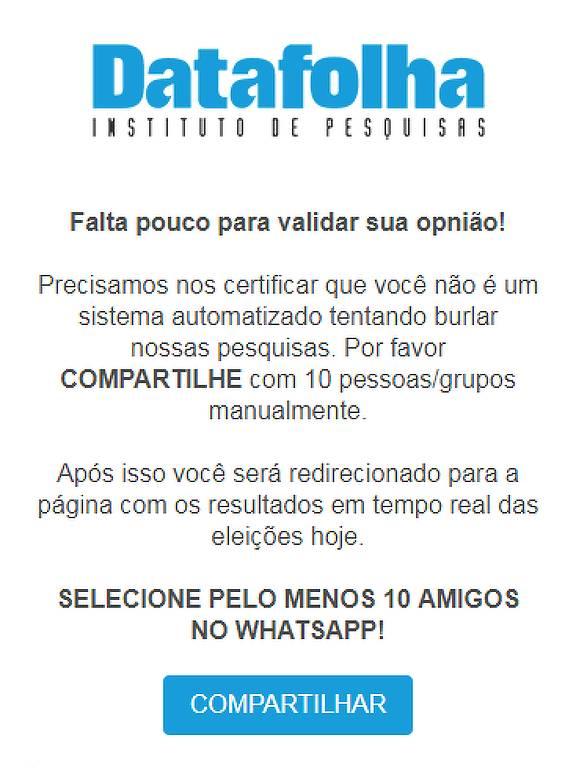 Imagem mostra mensagem que pede para compartilhar a pesquisa pelo WhatsApp para ter acesso ao resultado