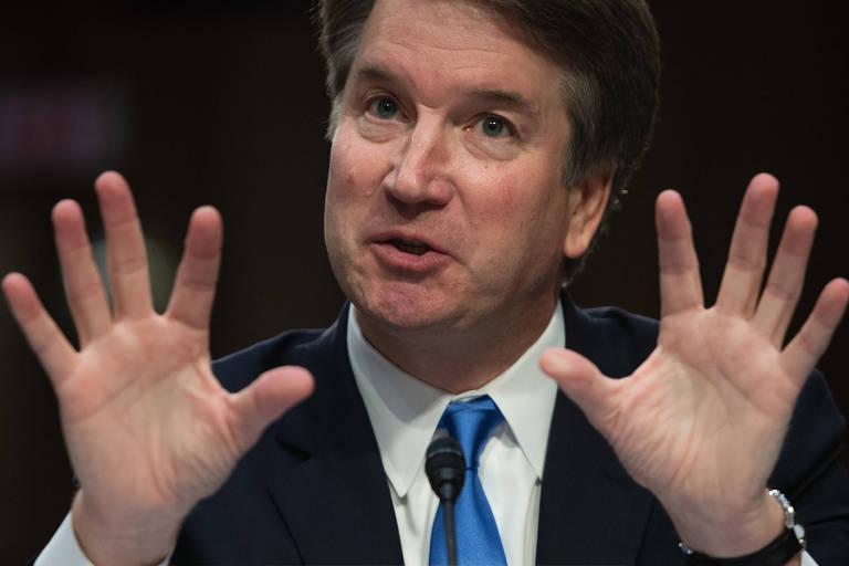 O juiz Brett Kavanaugh, indicado à Suprema Corte, fala durante sabatina no Senado dos EUA