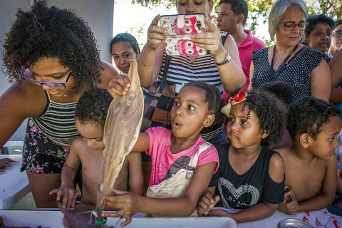RIO DE JANEIRO - RJ 23.09.2018 - Festival Museu Nacional Vive, para atrair o público à instituição, que sofreu um incêndio no dia 2/9.  Maria Catarin aSilva, 6 anos (blusa rosa ) com os primos Lucca Silva, 5 e Daniela Silva, 5 junto a prima Larissa Silva, 16 veem animais marinhos empalhados. (Foto: Raquel Cunha/Folhapress, COTIDIANO ) ***EXCLUSIVO***