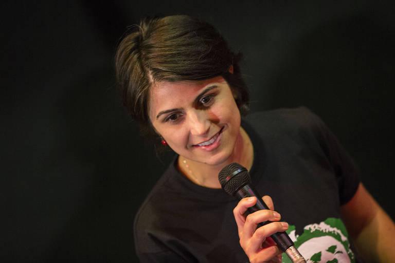 Manuela D'ávila (PCdoB), candidata a vice-presidente na chapa do PT, durante encontro com estudantes cotistas e beneficiários do Prouni, em São Paulo