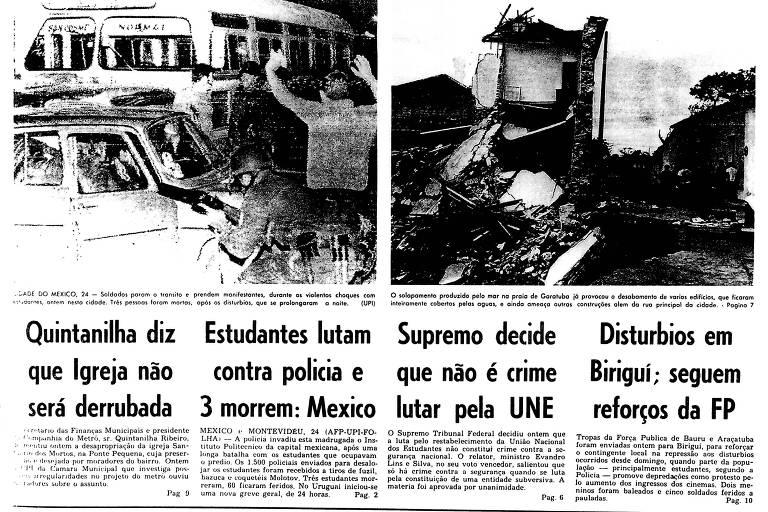 Primeira Página da edição de 25 de setembro de 1968 da Folha
