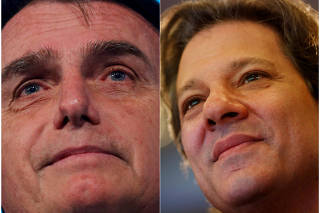 FILE PHOTOS: A combination of file photos showing presidential candidates Bolsonaro and Haddad