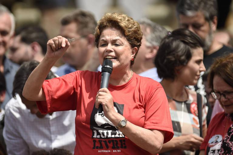 A ex-presidente Dilma Rousseff (PT), que é candidata ao Senado por Minas Gerais