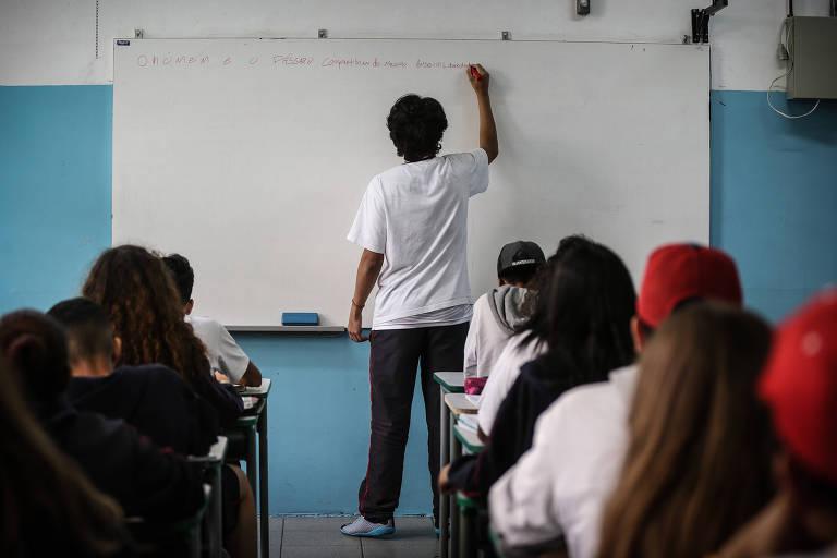 Sala de aula na Escola Estadual Maestro Fabiano Lozano, zona sul de São Paulo. Bolsonaro (PSL) quer resgatar educação moral e cívica no currículo das escolas, caso eleito presidente