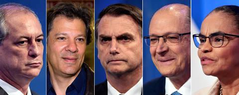 FOTOMONTAGEM EDITORIAL -  Candidatos a presidência da República: Ciro Gomes, Marina Silva, Geraldo Alckmin, Jair Bolsonaro e Fernando Haddad.  Credito: Paulo Whitaker/Reuters e Marcos Leoni