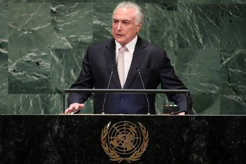 Brazil's President Michel Temer addresses the 73rd session of the United Nations General Assembly at U.N. headquarters in New York, U.S., September 25, 2018. REUTERS/Carlo Allegri ORG XMIT: HRB15