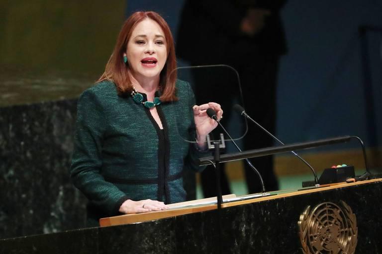 A equatoriana María Fernanda Espinosa durante a abertura da Assembleia Geral da ONU, em Nova York