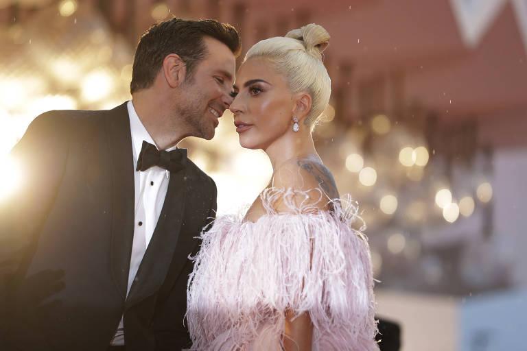 Os atores Bradley Cooper e Lady Gaga no Festival de Cinema de Veneza