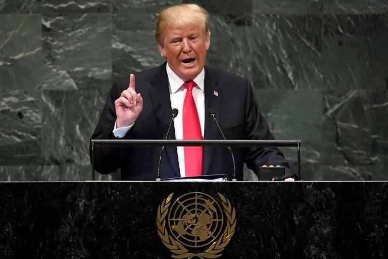 O presidente americano Donald TRump em seu discurso na ONu nesta terça (25), que começou atrasado