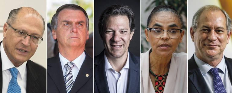 Montagem dos candidatos à Presidência Geraldo Alckmin (PSDB), Jair Bolsonaro (PSL), Fernando Haddad (PT), Marina Silva (Rede) e Ciro Gomes (PDT)
