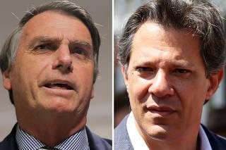FILE PHOTO: A combination photo shows presidential candidates Bolsonaro and Haddad