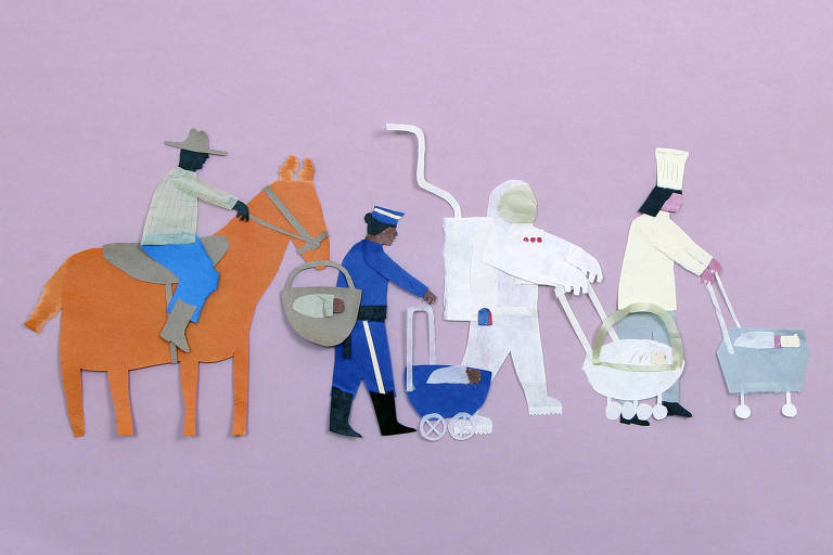 Ilustração de pessoas mulher a cavalo com cesto de bebê, policial, astronauta e cozinheira com carrinhos de bebê