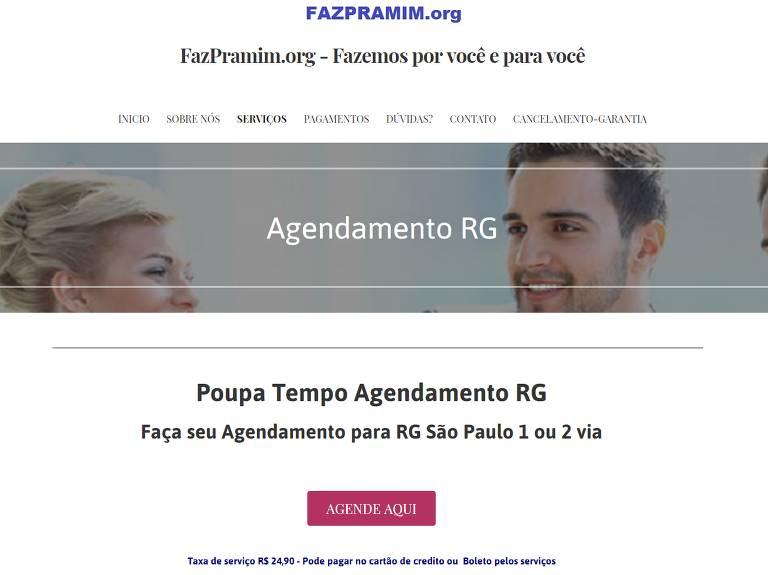 """Print do site """"Faz Pra Mim"""", que cobra pelo agendamento de serviços gratuitos do Poupatempo em SP"""