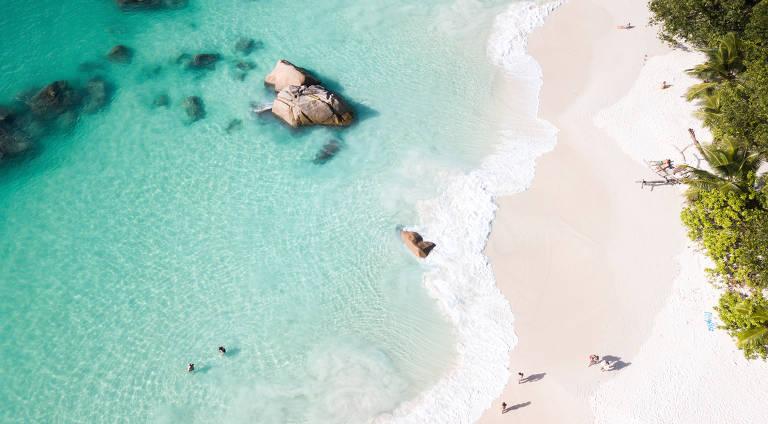 Praia vista de cima