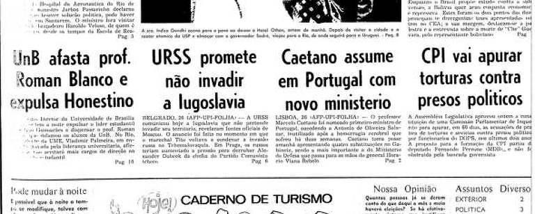 Primeira Página da Folha de 27 de setembro de 1968