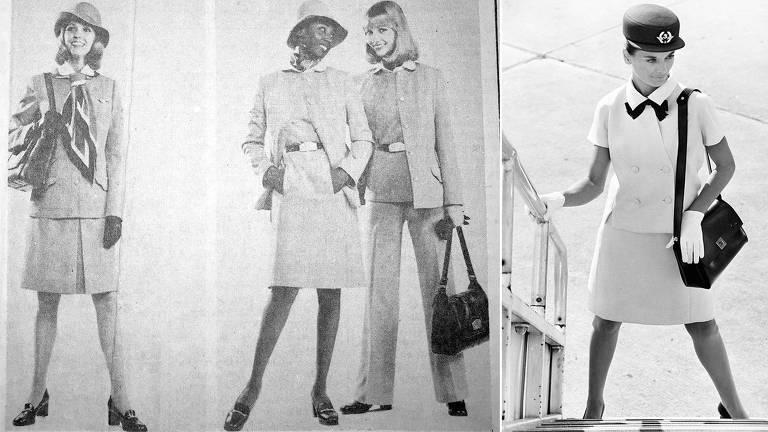 À esq., comissárias de bordo da Pan Am mostram novo uniforme em 1975; à dir., funcionária da Air France com uniforme de verão, em 1968