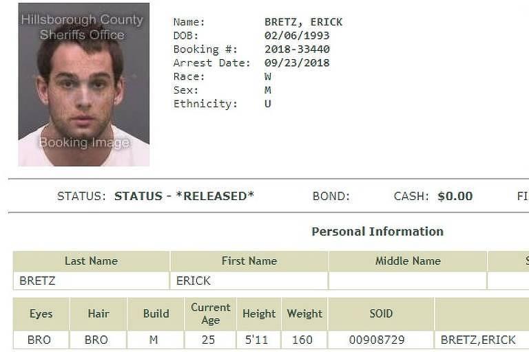 Registro no site da Polícia de Tampa da prisão de Erick Bretz