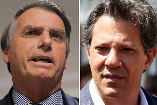 FILE PHOTO: A combination of file photos showing presidential candidates Bolsonaro and Haddad