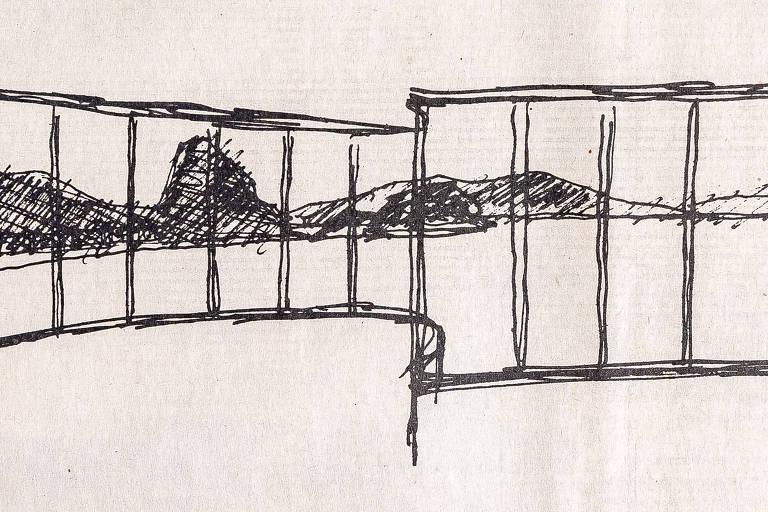 Em 1990, Niemeyer desenhou e descreveu a baía de Guanabara vista de sua janela