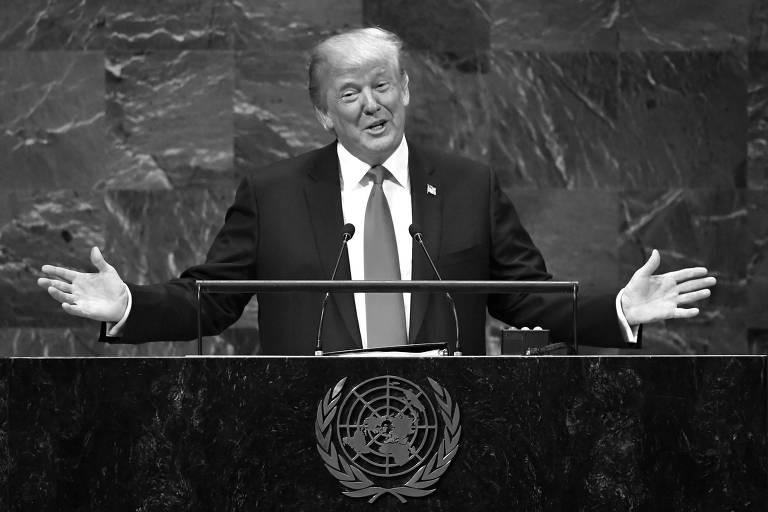 O presidente americano, Donald Trump, durante discurso na Assembleia-Geral da ONU, em Nova York